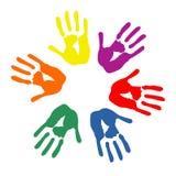 Kleurrijke handencirkel Stock Foto's