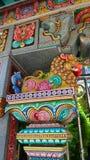De kleurrijke die gipspleister van de leeuwbeschermer van Mahamariamman-tempel op Silom-Road Bangkok, Famously als Wat Khaek, Uma Royalty-vrije Stock Afbeelding