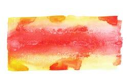 De kleurrijke die slag van de waterverfborstel op wit wordt geïsoleerd Stock Afbeelding