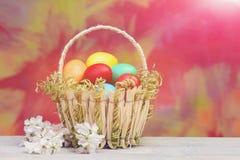 De kleurrijke eieren van Pasen in mand, de lentekers of abrikozenbloemen stock foto's