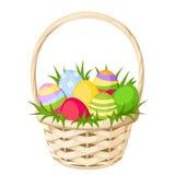 De kleurrijke eieren van Pasen in mand Vector illustratie Stock Fotografie