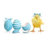 De kleurrijke eieren van Pasen met bloemen Stock Foto