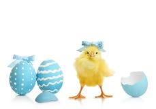 De kleurrijke eieren van Pasen met bloemen Stock Afbeelding