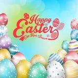 De kleurrijke eieren van Pasen met ontwerp Groenachtig blauwe Creatieve Achtergrond Royalty-vrije Stock Fotografie