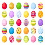 De kleurrijke eieren van Pasen. Vectorillustratie. Stock Foto's