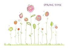 De kleurrijke elegante leuke bloemen van de de lentetijd De bloemenachtergrond van de lente Stock Afbeelding