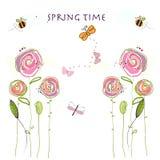 De kleurrijke elegante leuke bloemen van de de lentetijd De bloemenachtergrond van de lente Royalty-vrije Stock Afbeelding