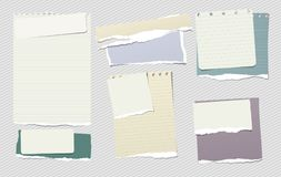 De kleurrijke en witte nota, notitieboekjedocument stukken met gescheurde randen plakte op gevoerde grijze backgroud Vector illus Stock Afbeelding