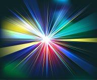 De kleurrijke futuristische technologie van de stralenexplosie stock illustratie