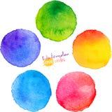 De kleurrijke geïsoleerde cirkels van de waterverfverf Stock Foto's
