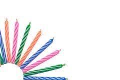 De kleurrijke Gelukkige Kaarsen van de Geboortedag Stock Fotografie