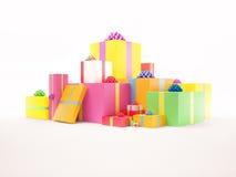 De kleurrijke geplaatste Dozen van de Gift Royalty-vrije Stock Afbeeldingen