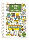 De kleurrijke geplaatste pictogrammen van de krabbelschool Stock Foto's
