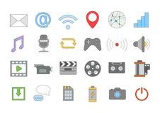 De kleurrijke geplaatste pictogrammen van verschillende media Stock Afbeelding