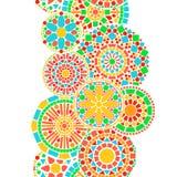 De kleurrijke grens van cirkel bloemenmandala in groen en oranje op wit naadloos patroon, vector Stock Afbeelding