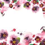 De kleurrijke grens van de waterverfbloem Achtergrond met waterverfpu Royalty-vrije Stock Fotografie