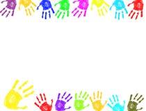 De kleurrijke hand drukt frame af Stock Fotografie