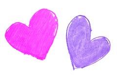 De kleurrijke hand geschilderde hartvormen trekken Royalty-vrije Stock Afbeelding