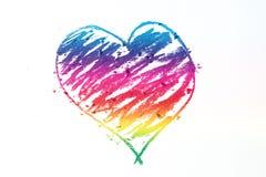 De kleurrijke hartpastelkleur plakt krabbel Stock Afbeeldingen