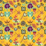 De kleurrijke heldere tegel van het tuin bloemen naadloze patroon met capricieuze bloemen vector illustratie