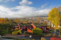 De kleurrijke herfst in Oslo Lindeberg met historische huizen stock fotografie