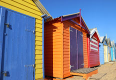 De kleurrijke het baden van Brighton dozen in Melbourne, Australië royalty-vrije stock afbeelding