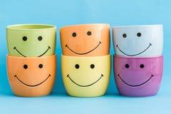 De kleurrijke het glimlachen potten van de pretbloem Stock Afbeelding