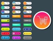 De kleurrijke het Webknopen van de website online winkel ontwerpen vectorillustratie het glanzende grafische etiket Internet malp Royalty-vrije Stock Fotografie