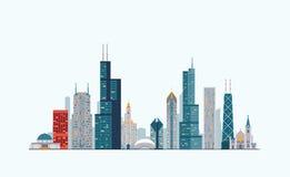De kleurrijke horizon van Chicago Stock Foto's
