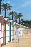De kleurrijke Hutten van het Strand Stock Afbeeldingen