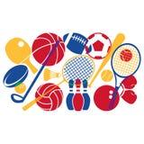 De kleurrijke Illustratie van het Sportmateriaal op Witte Achtergrond vector illustratie