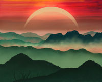 De kleurrijke illustratie van zonsondergangbergen Stock Afbeelding
