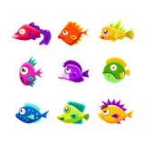 De kleurrijke Inzameling van Beeldverhaal Tropische Vissen vector illustratie