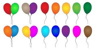 De kleurrijke inzameling van partijballons stock afbeeldingen
