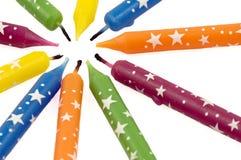 De kleurrijke Kaarsen van de Regenboog Stock Foto