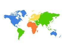 De kleurrijke kaart van de Wereld van continenten - Stock Afbeeldingen
