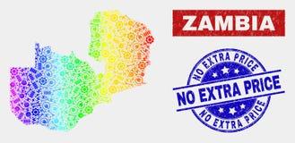 De kleurrijke Kaart van de Dienstzambia en Gekrast Geen Extra Prijsverbindingen stock illustratie