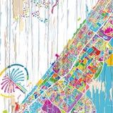 De kleurrijke kaart van Doubai royalty-vrije illustratie