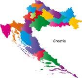 De kleurrijke kaart van Kroatië royalty-vrije illustratie