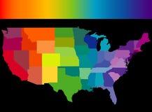 De kleurrijke kaart van Verenigde Staten Stock Foto's