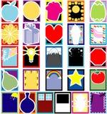 De kleurrijke kaarten van het Silhouet van Objecten Stock Afbeelding