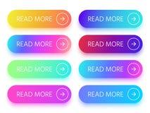 De kleurrijke knopen met lezen meer teken en pijlpictogram Actieknoop met levendige gradiënt geïsoleerde vector binnen pictogramm vector illustratie