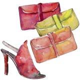 De kleurrijke koppeling en de schoenschets vormen glamourillustratie in een geïsoleerde waterverfstijl vector illustratie