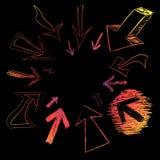 De kleurrijke Krabbels van de Pijl Stock Foto's