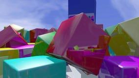 De kleurrijke kubus blokkeert deeltjes dichte omhooggaand het 3d teruggeven Stock Afbeeldingen