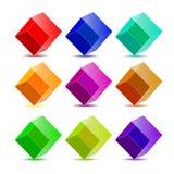 De kleurrijke kubussen van de inzameling Royalty-vrije Stock Foto's