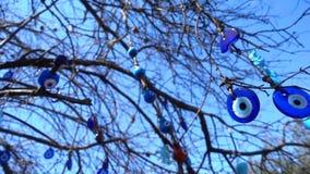 De kleurrijke Kwade Amulet van de Oogparel op Boom stock videobeelden
