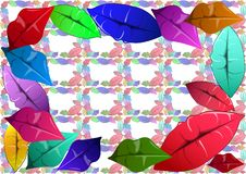 De kleurrijke lippen verfraaien het canvas royalty-vrije illustratie