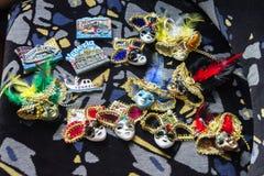 De kleurrijke maskers van Venetië Carnaval Stock Afbeeldingen
