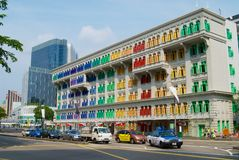 De kleurrijke MICAbouw in Singapore, Singapore Eerder genoemd geworden Oud Politiebureau van de Heuvelstraat royalty-vrije stock afbeelding